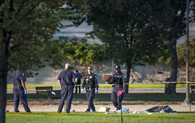 Police officers investigate at the scene on the National Mall in Washington, where, according to a fire official, a man set himself on fire Friday, Oct. 4, 2013.  The official said the man was flo ...