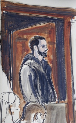 In a court sketch Wojciech Braszczok is seen in criminal court in New York, Wednesday, Oct. 9, 2013. Braszczok, an undercover police detective, was arrested as fallout from a burst of motorcyclist ...