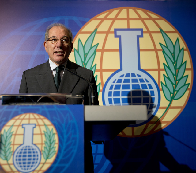 Director General of  the OPCW,  Ahmet Uzumcu,  comments on the organization being awarded the Nobel Peace Prize, during a press conference in The Hague, Netherlands, Friday Oct. 11, 2013. The Orga ...