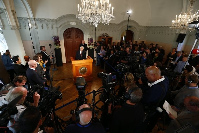 The chairman of the Norwegian Nobel Committee, Thorbjorn Jagland, centre,  announces, the winner of the Nobel Peace Prize,  at the Nobel Institute,  in Oslo,  Friday Oct. 11, 2013. The Organizatio ...