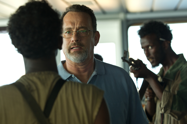 "This film image released by Sony - Columbia Pictures shows Tom Hanks, center, in a scene from ""Captain Phillips.""   (AP Photo/Sony - Columbia Pictures)"