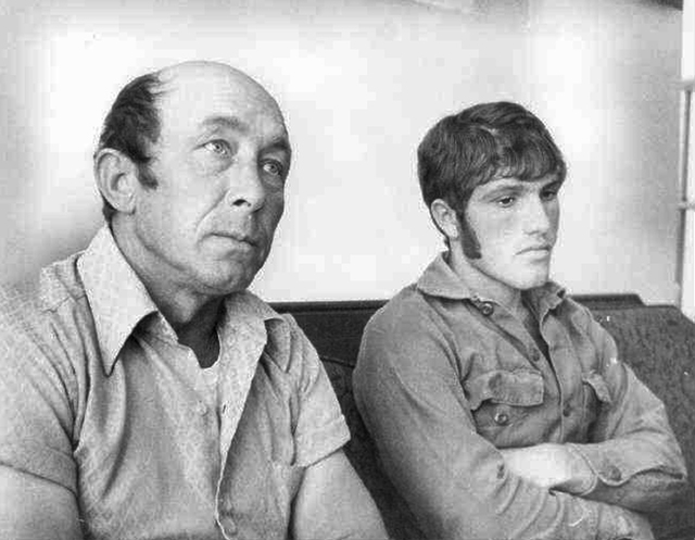 FILE - In this Oct. 18, 1973 file photograph taken in Gautier, Miss., Charles Hickson, left, and Calvin Parker Jr., of Pascagoula, Miss., recount the experience of their alleged abduction by alien ...