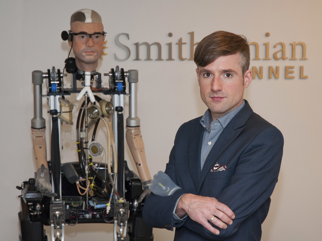 In this Wednesday, Oct. 9, 2013 photo provided by Showtime, Bertolt Meyer, a social psychologist for the University of Zurich, poses for a photo in New York. Meyer is the face of the the Bionic Ma ...