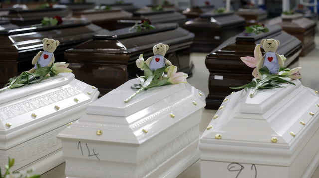FILE - In this Saturday, Oct. 5, 2013 file photo, teddy bears and flowers placed on the coffins of deceased migrants are seen inside a hangar at Lampedusa's airport, Italy, Saturday, Oct. 5, 2013. ...