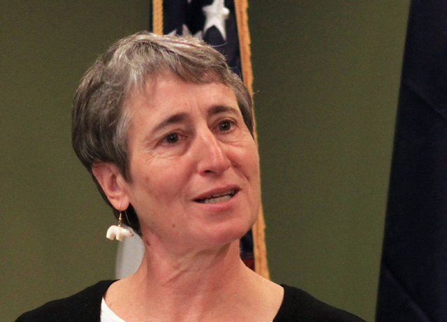FILE - In this Sept. 3, 2013 file photo, Interior Secretary Sally Jewell speaks at a news conference in Anchorage, Alaska. The Obama administration says it will allow states to use their own money ...