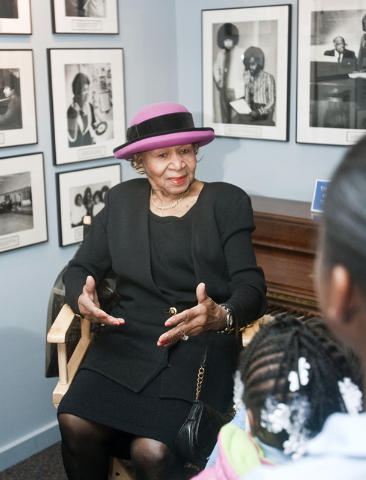 Maxine Powell, a former Motown Records artists developer, talks to school children touring the Motown Museum in Detroit in 2009. Powell, who was responsible for developing the charm, grace and sty ...