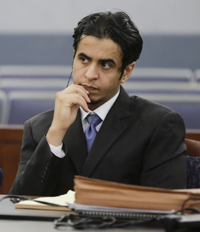 Defendant Mazen Alotaibi, listens to comments by Judge Stefany Miley during the jury selection process for hit trial, Friday, Oct. 11, 2013, at Justice Court in Las Vegas.  The 24-year-old Saudi A ...