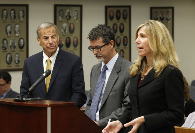 Former San Diego mayor Bob Filner, left, stands with counsel in court Tuesday before he pleads guilty on state charges of felony false imprisonment. Filner pleaded guilty to one criminal count of  ...