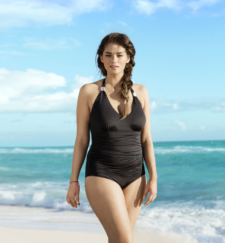 Plus-size model Jennie Runk, who is a size 12 or 14, in shown in an H&M swimsuit ad from 2012. The European-based retailer sells trendy clothing in the U.S. equivalent of sizes 1 throughout 16. (A ...