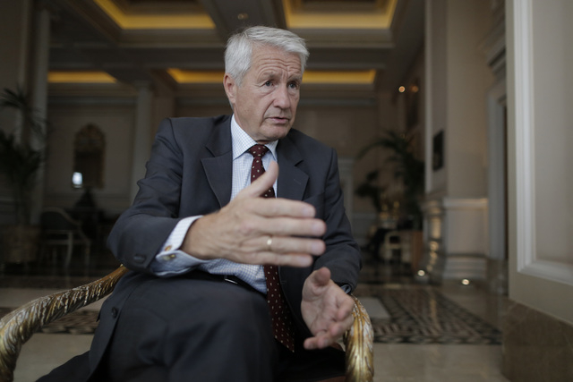 Thorbjoern Jagland, the head of the Council of Europe, speaks to The Associated Press in an interview at the start of his two-day visit to Athens, on Tuesday, Oct. 22, 2013. Greek lawmakers are to ...