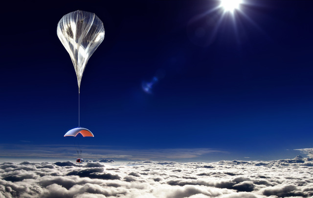 This artist's rendering provided by World View Enterprises on Tuesday, Oct. 22, 2013 shows their design for a capsule lifted by a high-altitude balloon up 19 miles into the air for tourists. Compa ...