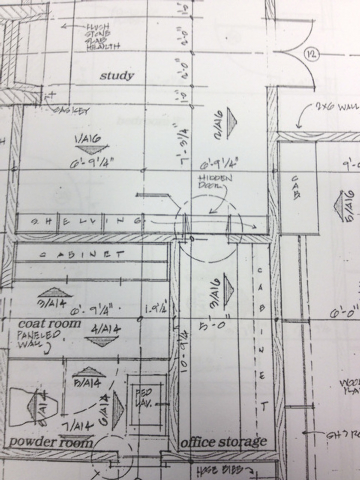 This undated photo provided by Matt Canham shows a drawing of Mitt Romney's soon-to-be constructed home in Holladay, Utah. Romney's study features a book case that swivels open and leads into secr ...