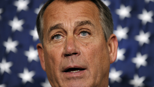 House Speaker John Boehner of Ohio speaks during a new conference following a meeting at the Republican National Committee offices on Capitol Hill in Washington, Wednesday, Oct. 23, 2013. (AP Phot ...