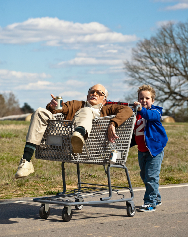 "This photo released by Paramount Pictures shows Johnny Knoxville, left, as Irving Zisman and Jackson Nicoll as Billy in ""Jackass Presents: Bad Grandpa,"" from Paramount Pictures and MTV F ..."