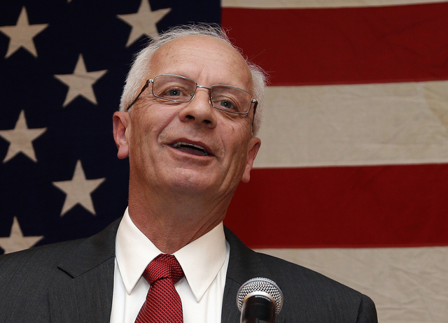 In this Nov. 7, 2012 file photo, then-Michigan Republican House candidate Kerry Bentivolio speaks at his election night party in Novi, Mich. Business thinks tea partyers have overstayed their welc ...