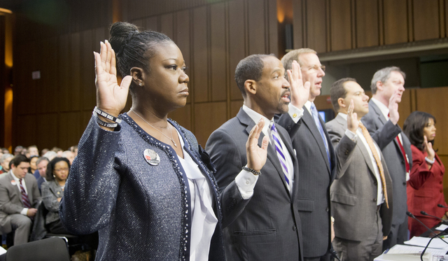 Witnesses, from left, Sybrina Fulton, mother of Trayvon Martin; Ronald S. Sullivan, Jr., Clinical Professor of Law, Director of the Criminal Justice Institute, Harvard Law School; David LaBahn, As ...