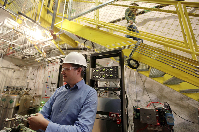 Physicist Dan McKinsey of Yale University explains an experiment being conducted deep in an abandoned gold mine in Lead, S.D., gold mine to search for elusive and mysterious dark matter. In an ann ...