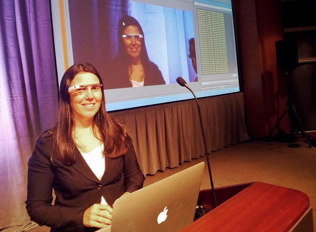 Cecilia Abadie a software developer from Temecula, Calif., is seen during a presentation. Abadie was pulled over for speeding on Tuesday Oct. 29, 2013, in San Diego, when a California Highway Patr ...