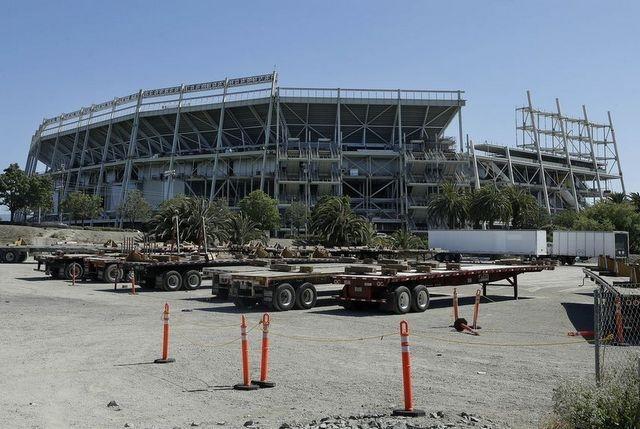 The exterior of the new San Francisco 49ers football stadium under construction in Santa Clara. (Jeff Chiu / Associated Press)