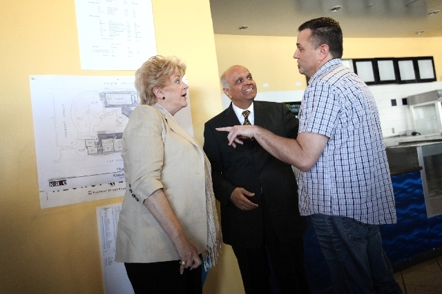 Mayor Carolyn Goodman, Neonopolis developer Rohit Joshi and Krave Entertainment owner Kelly Murphy chat during a July 25 news conference at Neonopolis. (Las Vegas Review Journal/File)