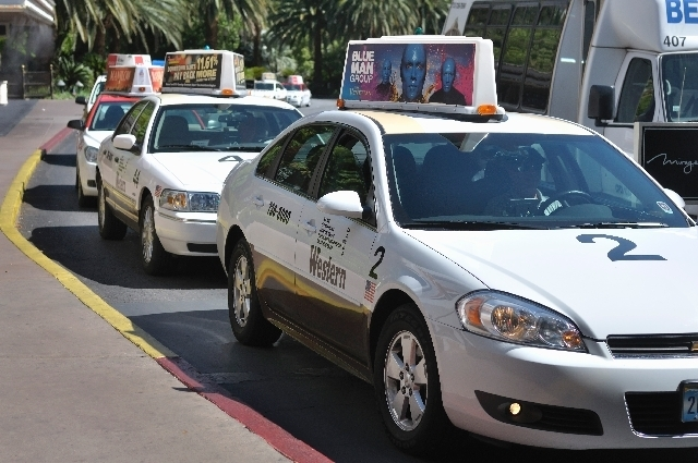 Taxicabs are shown at The Mirage in this file photo. (Review-Journal File Photo)