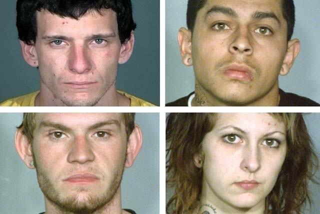 Clockwise from top left, Michael Evans, Raul Garcia, Makyla Blackmore and Anthony Elliot are facing murder charges in the death of William McCune, Nevada's chief insurance examiner. Garcia, Black ...