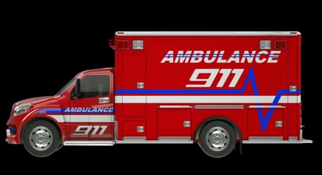 Ambulance: Side view of emergency services vehicle over black. (Thinkstock)