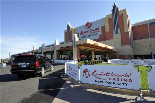 Resorts World Casino is shown on Oct. 28, 2011, the day of its official opening as New York City's first casino at the Aqueduct Racetrack. Seeking to increase state revenue an bolster sagging budg ...