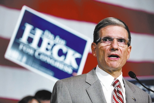 Rep. Joe Heck, R-Nev., gives a victory speech after winning re-election to the House of Representatives over Democratic challenger John Oceguera, Tuesday, Nov. 6, 2012, in Las Vegas. (AP Photo/Jul ...