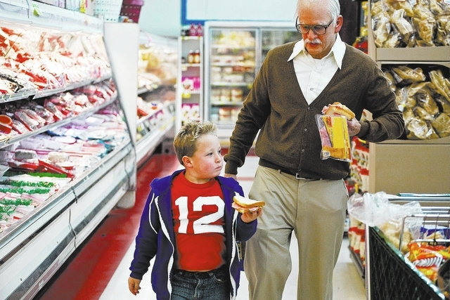 Left to right:Jackson Nicoll is Billy and Johnny Knoxville is Irving Zisman in JACKASS PRESENTS: BAD GRANDPA, from Paramount Pictures and MTV Films.