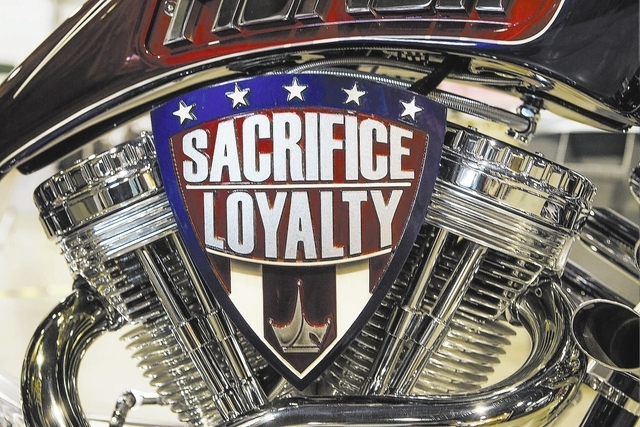 The Geico MilitaryTribute Bike designed by Paul Jr. Designs as seen Wednesday, Oct. 3, 2013 during BikeFest at Cashman Center, . More than 200 vendors and 35,000 people are expected to attend the  ...
