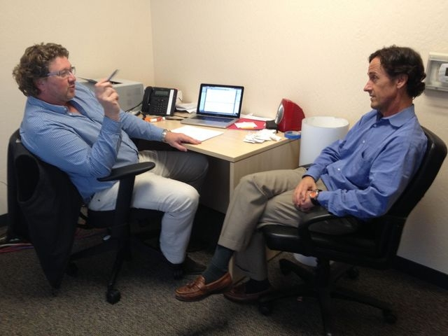 Content marketing consultant Bill Peatman, right, of Napa, Calif., listens to Simon Hawksworth discuss content objectives at at Cirtec Medical Systems LLC in Los Gatos, Calif., where he's vi ...