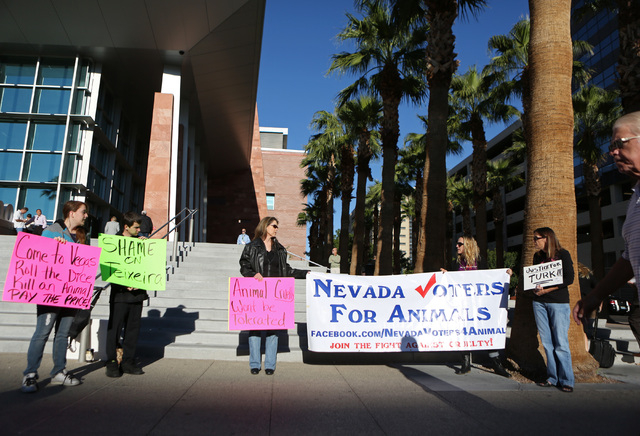 Members of Nevada Voters for Animals gather in front of the Regional Justice Center on Wednesday. The group was protesting against Justin Teixeira, a University of Berkeley law student who was sen ...