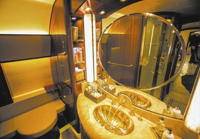 The bathroom of an Airbus AVJ319 at National Business Aviation Association Static Display of Aircraft as seen Tuesday, Oct. 22, 2013 at Henderson Executive Airport. The tradeshow which attracts 25 ...