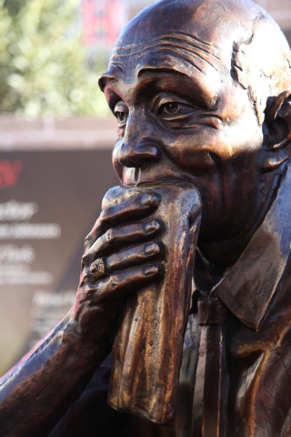 Jerry Tarkanian's likeness is seen at the unveiling of his statue at UNLV's Thomas & Mack Center outdoor plaza on Wednesday Oct. 30, 2013. (Alex Federowicz/Las Vegas Review-Journal)