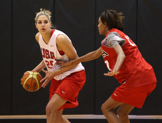 Elena Delle Donne, left, looks for her shot past teammate DeWanna Bonner, right, during a USA women's national basketball team mini-camp at Cox Pavilion Friday, Oct. 4, 2013, in Las Vegas. The tea ...