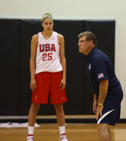 Elena Delle Donne, left, stands near Head coach Geno Auriemma, of the University of Connecticut, as he speak to the team during a USA women's national basketball team mini-camp at Cox Pavilion Fri ...