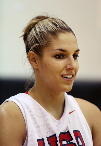 Elena Delle Donne speaks to the media during a USA women's national basketball team mini-camp at Cox Pavilion Friday, Oct. 4, 2013, in Las Vegas. The team will be practicing in Las Vegas throughou ...