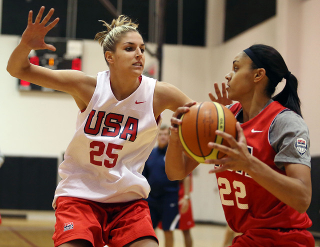Elena Delle Donne, left, blocks Candice Dupree, right, during a USA women's national basketball team mini-camp at Cox Pavilion Friday, Oct. 4, 2013, in Las Vegas. The team will be practicing in La ...