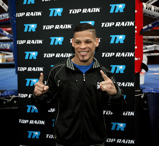 Featherweight boxer Orlando Cruz poses for photos at Top Rank Gym in Las Vegas on Monday13. Cruz is boxing's first openly gay fighter and is going for a world title Saturday at the Thomas & Mack C ...