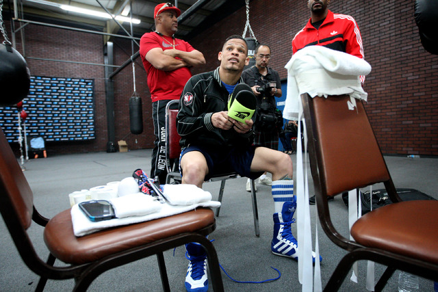 Featherweight boxer Orlando Cruz prepares to work out at Top Rank Gym in Las Vegas on Monday. Cruz is boxing's first openly gay fighter and is going for a world title Saturday at the Thomas & Mack ...