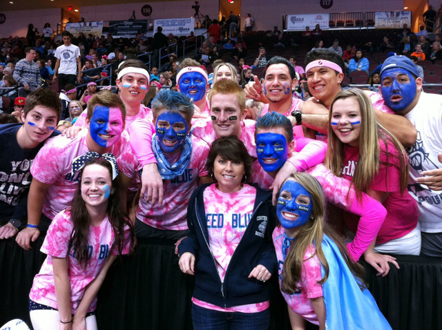 Provided family photo of Shiela Burns, front center, with students from her school showing their support by wearing pink shirts and personalized facepaint. (Ronda Churchill/Las Vegas Review-Journal)