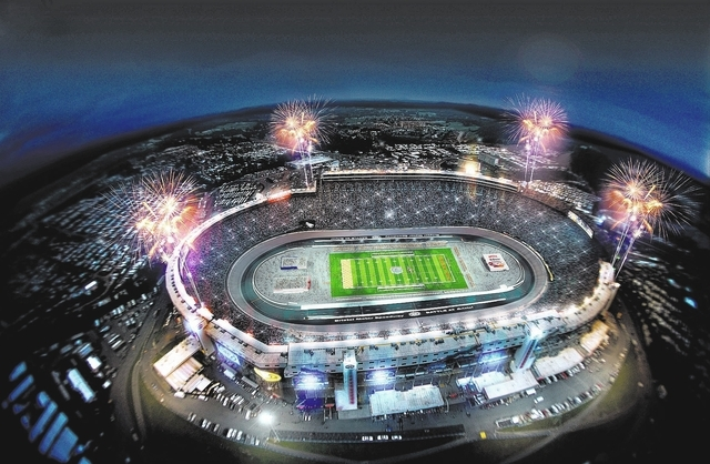 This artist rendering provided by Bristol Motor Speedway, shows how the speedway is expected to look during a college football game in 2016. Tennessee and Virginia Tech will finally play a footbal ...