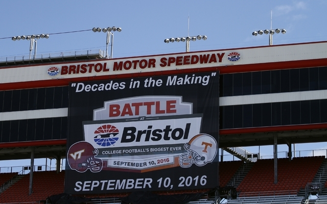 A large banner hangs from the skybox during a press conference at Bristol Motor Speedway  Friday, Oct. 13, 2013 in Bristol, Tenn. Tennessee and Virginia Tech will finally play a football game at B ...
