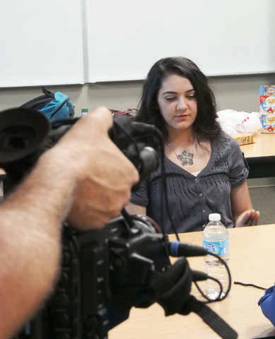 Micheline Ghanem talks about her experiences in high school during a USA Network public service announcement recording session on bullying at West Career and Techincal Academy in Las Vegas, Tuesda ...