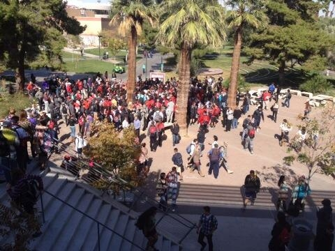 UNLV football players and students gather on the UNLV campus to see the Fremont Cannon (Courtesy @UNLVSIDWasik/Twitter)