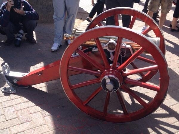 The Fremont Cannon sporting a fresh coat of red paint. (Courtesy @UNLVNews/Twitter)