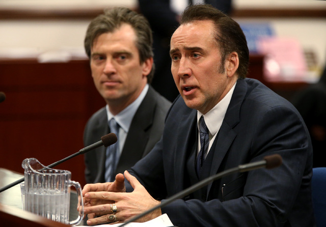 Actor Nicolas Cage testified in support of a bill proposing tax incentives to filmmakers at the Legislative Building Carson City, Nev., on Tuesday, May 7, 2013. Proponents of the measure say it wi ...