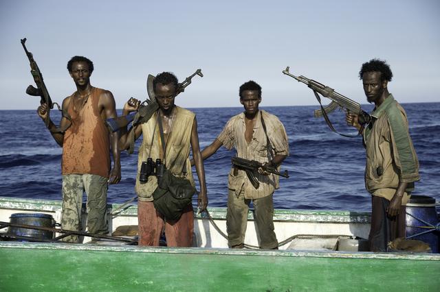"L-r, Faysal Ahmed, Barkhad Abdi, Barkhad Abdirahman, Mahat Ali in Columbia Pictures' ""Captain Phillips,"" starring Tom Hanks."
