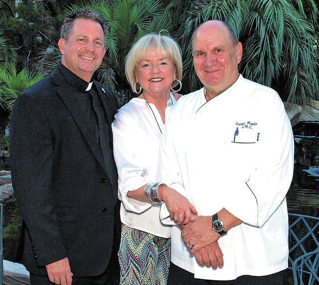 Deacon Thomas A. Roberts, from left, and Denise and chef Gustav Mauler. (Courtesy)